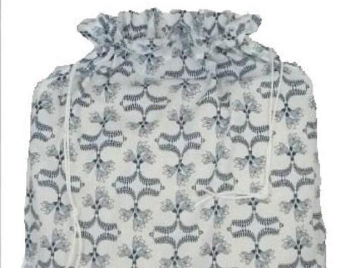 kea Kallt Fabric Kitchen Storage Bag, White and Blue Laundry Bag, Large Drawstring Bag Utility Bag, Cottton Bag, Nursing Home Bag