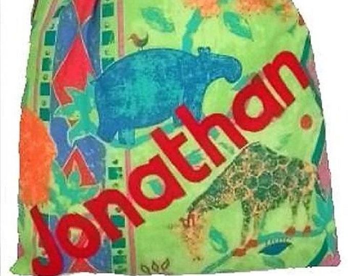Tropical Jungle, PE bag, Personalised bag, Drawstring Bag, School Bag, Pump Bag, Gym Bag, Nursery Bag, Personalised with Appliqued Felt