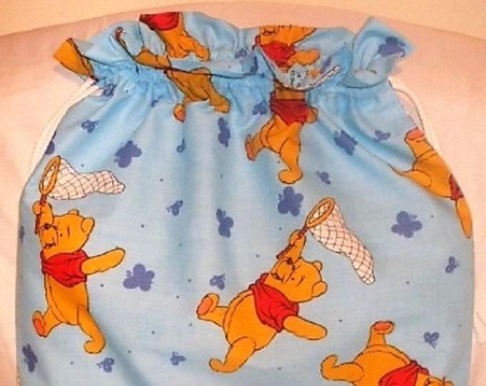 Pooh Winnie, Pale Blue Bag, Fabric Laundry Bag, Storage Bag, Large Drawstring Bag, Nursery Bag, Utility Bag, Cottton Bag,
