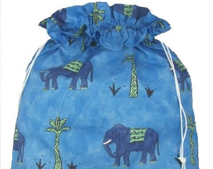 Indian Elephant Blue KStorage Bag, Laundry Bag, Large Drawstring Bag, Utility Bag, Cottton Bag, Linen Storage, Elephant Storysack