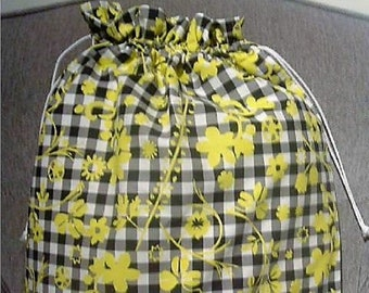 Ikea Belinda Black and yellow, Fabric Laundry Bag, Storage Bag, Large Drawstring Bag, Nursing Home Bag, Utility Bag, Cottton Bag, 70's retro