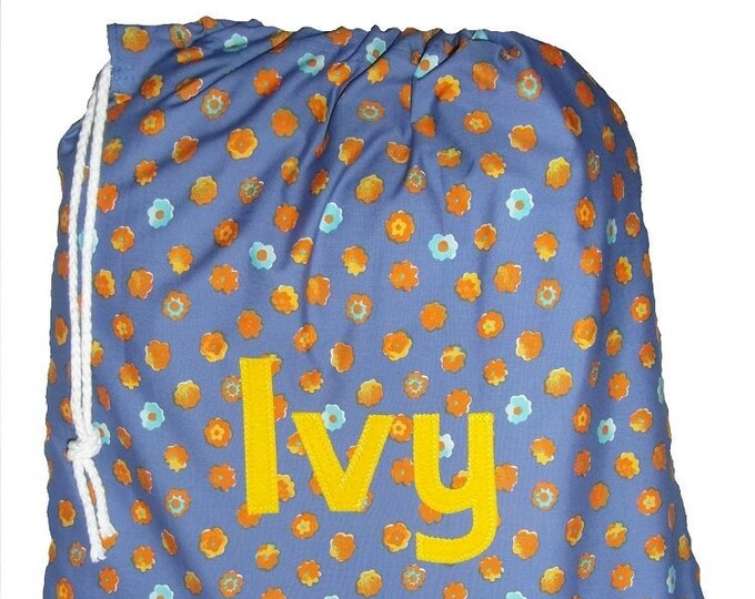 Blue and Orange flowers Lingerie Bag, Pump Bag, PE Bag, Nursery Drawstring Bag, Personalised for School or Kindergarten