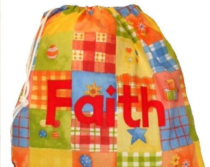 Personalized Drawstring bag for School Nursery Kindergarten Patchwork Personalised with Appliqued felt