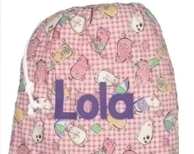 Pink Gingham Pig PigletPersonalized Drawstring bag for School Nursery Diaper Nappy Kindergarten  Personalised with Appliqued felt