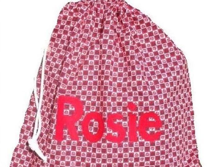 Personalised bag, Drawstring bag, School bag, Nursery bag, Nautical colours, Sail boats, Personalised with Appliqued felt