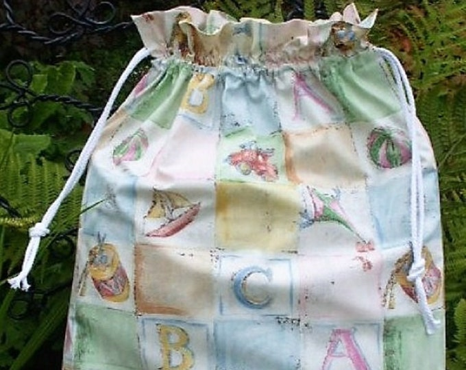 ABC Toy Patchwork, Fabric Laundry Bag, Storage Bag, Large Drawstring Bag, Nursery Bag, Utility Bag, Cottton Bag,
