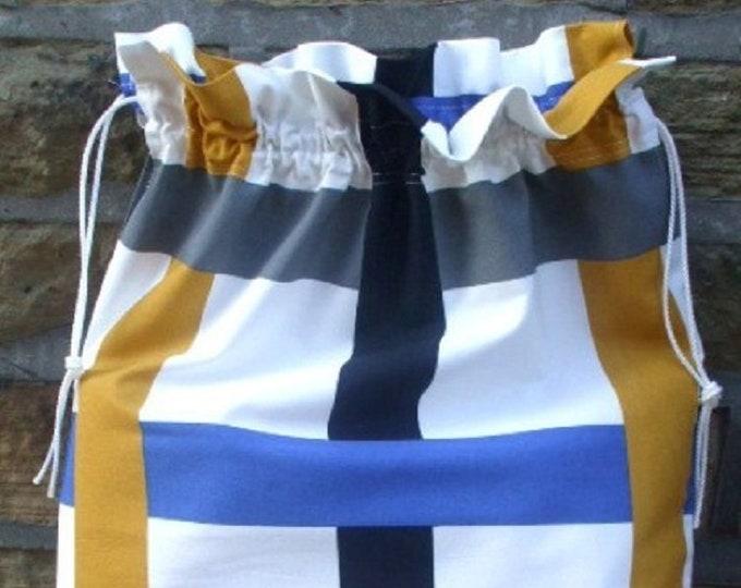 Ikea Bodil Grid, Laundry Bag, Storage Bag, Large Drawstring Bag, Nursing Home Bag, Utility Bag, Cottton Bag, Retro 60's style Fabric