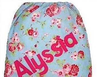 Rosali Blue Floral + Red Checked Personalised Dance Bag, Drawstring Bag, School Bag, Pump Bag, Gym Bag, Nursery Bag