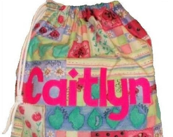 Ladybird Girls Personalised bag, Drawstring bag, Gym Bag, School bag, Nursery bag, Birthday gift,  Scrub bag, Appliqued Felt