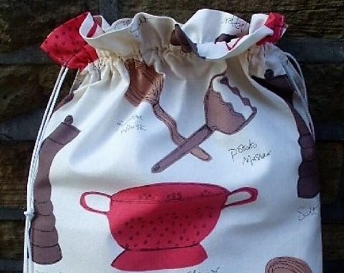 Kitchen Utensil design in brown and red, Kitchen Storage Bag, Laundry Bag, Large Drawstring Bag, Utility Bag, Cottton Bag, Linen Storage