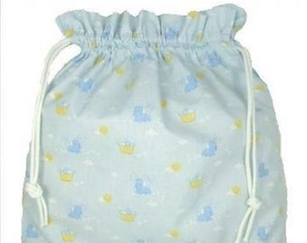 Puppies on pale baby blue, Fabric Laundry Bag, Storage Bag, Large Drawstring Bag, Nursery Bag, Utility Bag, Cottton Bag,