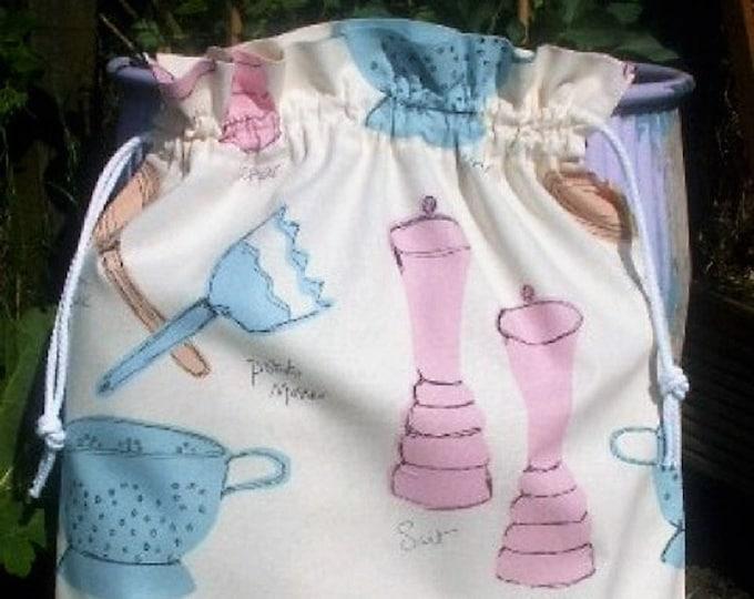 Utensils design in pastel colours, Pink Kitchen, Storage Bag, Laundry Bag, Large Drawstring Bag, Utility Bag, Cottton Bag, Linen Storage