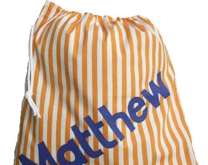 PE Drawstring bag Personalised for School Gym Kit Orange Striped Twill Personalized in Applique Felt Nursery or Kindergarten Bag