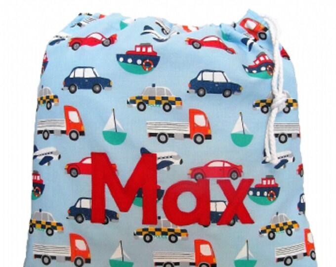 Transport Themed Personalised Shoe Bag, Drawstring Bag, School Bag, Pump Bag, Gym Bag, Nursery Bag,  Personalized with Appliqued Felt