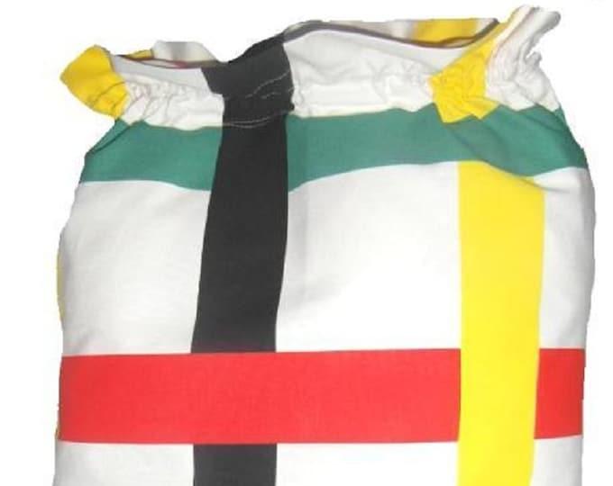 Ikea Bodil Grid, Laundry Bag, Storage Bag, Large Drawstring Bag, Nursing Home Bag, Utility Bag, Cottton Bag, Retro 60's Fabric