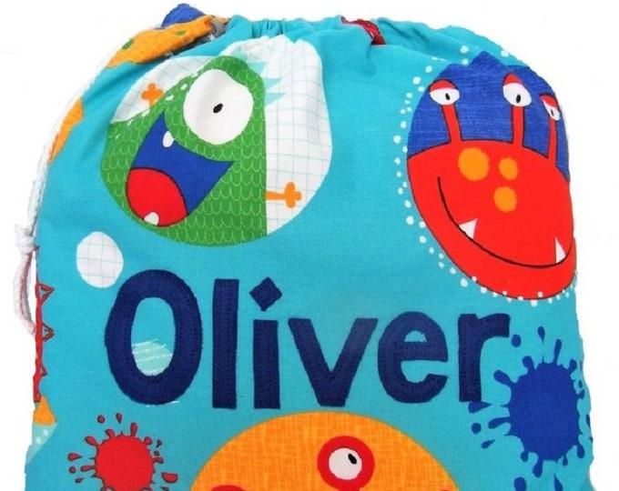 Monster Alien Personalised Shoe Bag, Drawstring Bag, School Bag, Pump Bag, Gym Bag, Nursery Bag,  Personalized with Appliqued Felt
