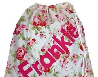 Rosali White Floral + blue dotty Personalised Dance Bag, Drawstring Bag, School Bag, Pump Bag, Gym Bag, Nursery Bag, Lingerie bag