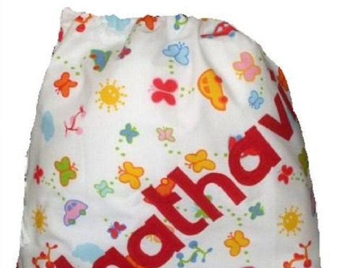 White Cotton Personalised bag, Drawstring bag, School bag, Nursery bag, Diaper bag, Nappy bag,Baby gift Personalised with Appliqued felt