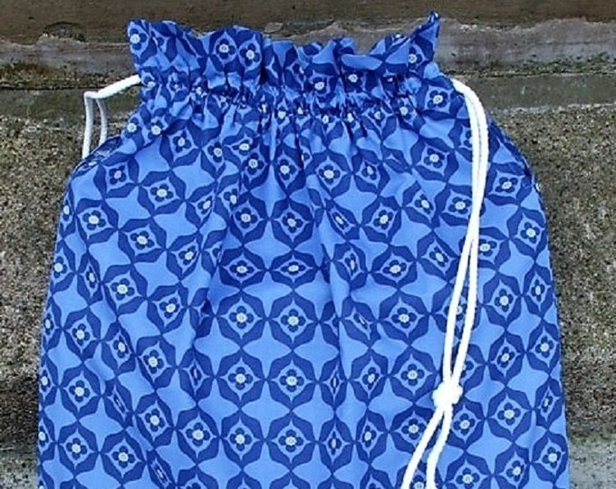 kea Kallt Fabric Kitchen Storage Bag, Blue Laundry Bag, Large Drawstring Bag Utility Bag, Cottton Bag, Nursing Home Bag