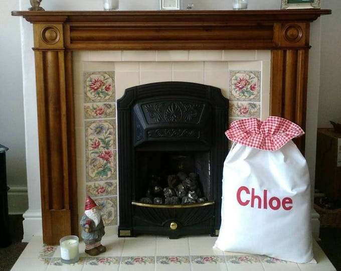 Personalized Santa Sack in WHITE for Christmas Eve with Red Gingham Ruffle and Silver Bells LARGE 100% cotton Personalised