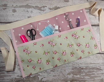 "Waist apron Pretty in PINK flowers Teacher apron Vendor apron Pocket apron Teacher utility belt Half waist 5 or 3 pockets fits 10"" tablet"
