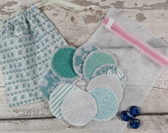 9 reusable face pads and storage bag & wash bag, Eco-friendly, Makeup Removal, Scrubbies, Facial cleansing wipes, Zero waste, Ethical gift F