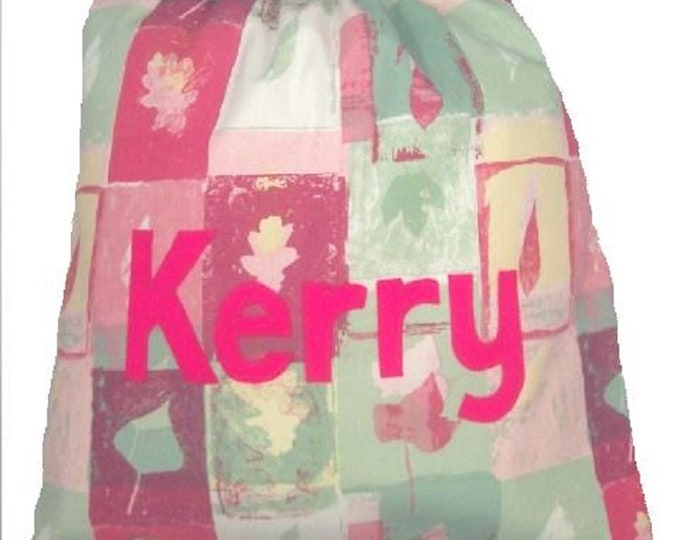 Pink Orchard Pump Bag, PE Bag, Nursery Drawstring Bag, Personalised for School or Kindergarten