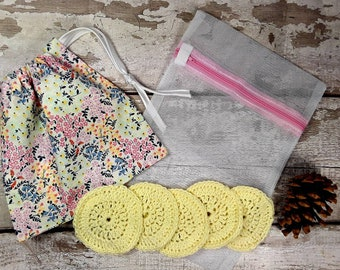 5 Reusable Cotton Crochet face pads storage bag & wash bag, Eco-friendly, Makeup removal, Scrubbies, Facial cleansing wipes, Gift K