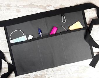 Plain Dark Slate Grey Waist Apron, 3 or 5 pockets for Sanitiser Tissues Wipes, Vendor apron, Teacher apron, Pocket apron, Market apron, RWI