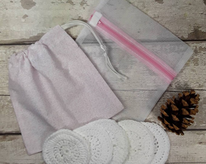5 Reusable Cotton Crochet face pads storage bag & wash bag, Eco-friendly, Makeup removal, Scrubbies, Facial cleansing wipes, Gift R