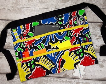 Teacher Apron, Half waist apron, 9 pockets Yellow Trim, Vendor Apron, Apron with pockets, Classroom apron, Teacher gift