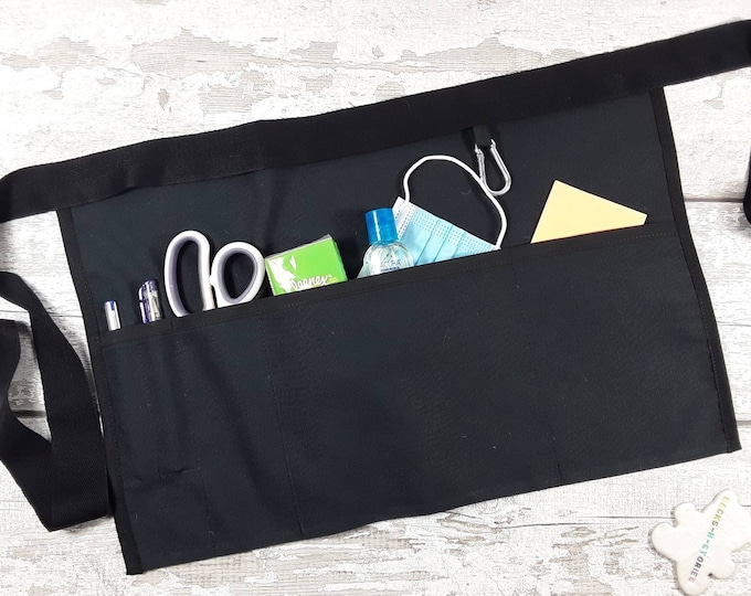 Plain Black Teacher Apron with 3 or 5 pockets suitable for Sanitiser Tissues Wipes Vendor apron Teacher Pocket apron