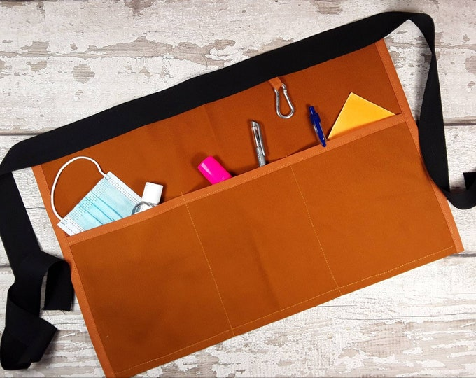 Plain Ginger Brown Teacher Apron, 3 or 5 pockets suitable for Sanitiser Tissues Wipes Vendor apron, Pocket apron, Waist apron, RWI apron