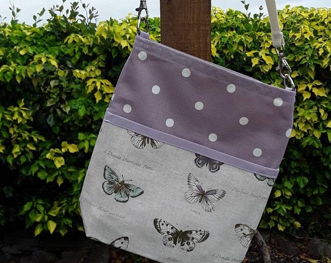 Teacher Bag BUTTERFLIES with choice of polka dot fabric 3 or 6 pockets Crossbody Bag for PPE sanitiser mask classroom supplies Teacher gift
