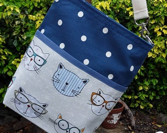 Teacher Bag CATS with choice of polka dot fabric 3 or 6 pockets Crossbody Bag for PPE sanitiser mask classroom supplies Teacher gift