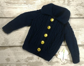 Handknitted 12-18 mths Baby Aran Jacket Jumper collar and Military Gold buttons in Navy  Traditional Naval Cable Knitwear like Prince George