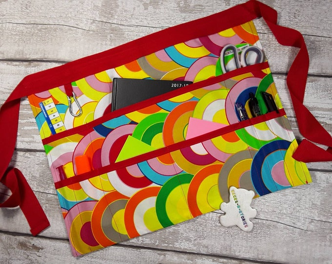 "Apron for Teacher Half Waist 9 pockets Rainbow Red Trim Fits 10"" Tablet Vendor Apron Teacher Utility Belt"