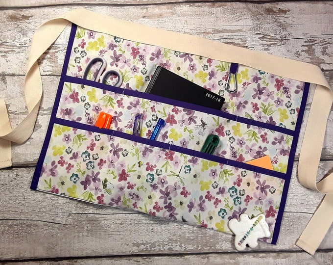 "Apron for Teacher Half Waist 7 pockets Purple Flowers Fits 10"" Tablet Vendor Apron Teacher Utility Belt Teacher Gift"