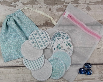 9 reusable face pads and storage bag & wash bag, Eco-friendly, Makeup Removal, Scrubbies, Facial cleansing wipes, Zero waste, Ethical gift G