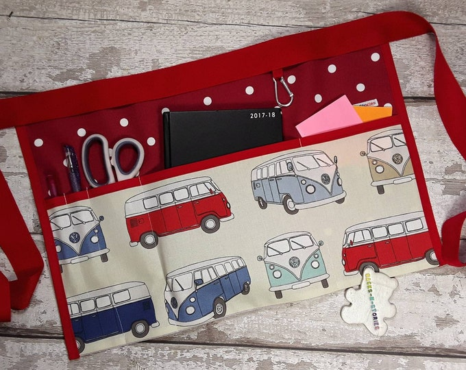 "Teacher Apron CAMPER VAN with Red polka dot 5 pocket fits 10"" tablet or 3 pockets for RWI Vendor apron Teacher Pocket apron"
