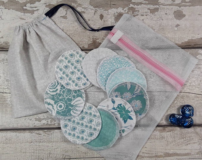 9 reusable face pads and storage bag & wash bag, Eco-friendly, Makeup Removal, Scrubbies, Facial cleansing wipes, Zero waste, Ethical gift D