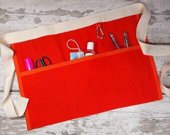 Plain Bright Orange waist Apron, 3 or 5 pockets suitable for Sanitiser Tissues Wipes, Vendor apron, Teacher apron, Pocket apron,Waist  apron