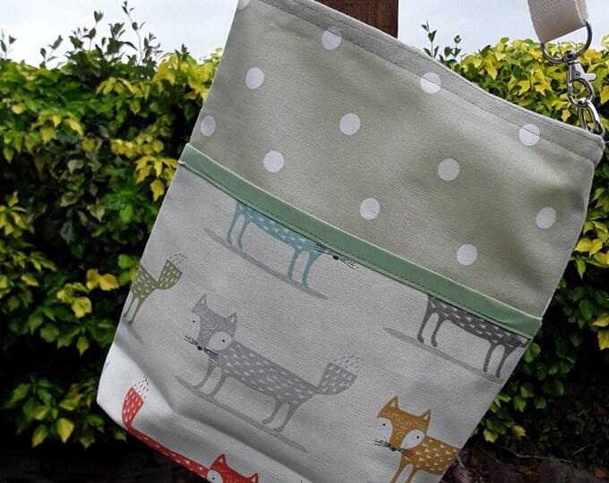 Teacher Bag FOXES FOX with choice of polka dot fabric 3 or 6 pockets Crossbody Bag for PPE sanitiser mask classroom supplies Teacher gift