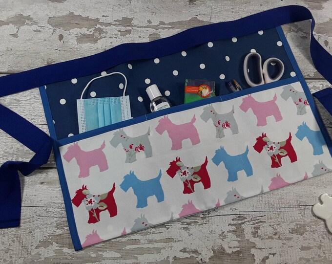 Teacher Apron HIGHLAND TERRIER Scottie Dog Red Choice of Polka Dot and 5 pockets or 3 pockets Vendor Apron Teacher Utility Belt