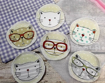 6 Cat face reusable face pads storage & wash bag Eco-friendly Makeup Removal Scrubbies Facial cleansing wipes, Zero waste, Ethical gift E