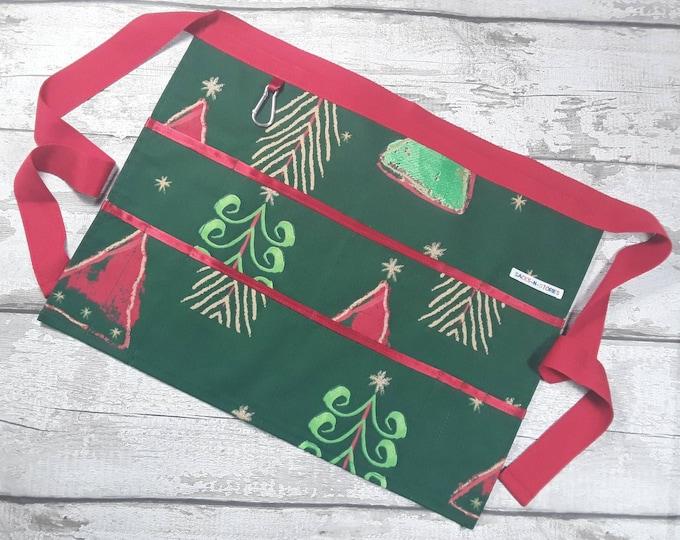 "Teaching Apron Christmas Tree Green 9 pockets fits 10"" tablet Vendor apron Teacher Utility Belt"