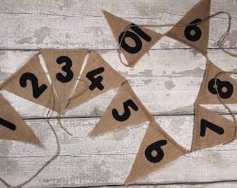 Number bunting burlap hessian choice of felt colour numbers 130cm adjustable 10 flags 1- 10 Farmhouse Classroom Decor
