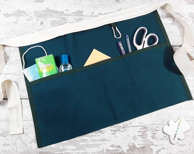 Plain Peacock Green Turquoise Teacher Apron with 3 or 5 pockets suitable for Sanitiser Tissues Wipes Vendor apron Teacher Pocket apron