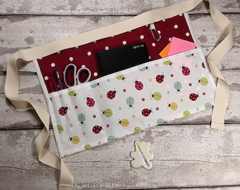 Teachers Apron LADYBIRD LADYBUG and Polka Dot 5 or 3 pockets teachers gift Vendor Apron Teacher Utility Belt Read Write Inc Apron RWI
