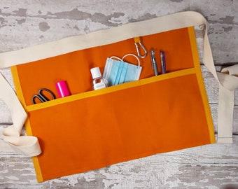 Plain Orange Waist Apron with 3 or 5 pockets suitable for Sanitiser Tissues Wipes, Vendor apron, Teacher apron, Pocket apron,RWI apron